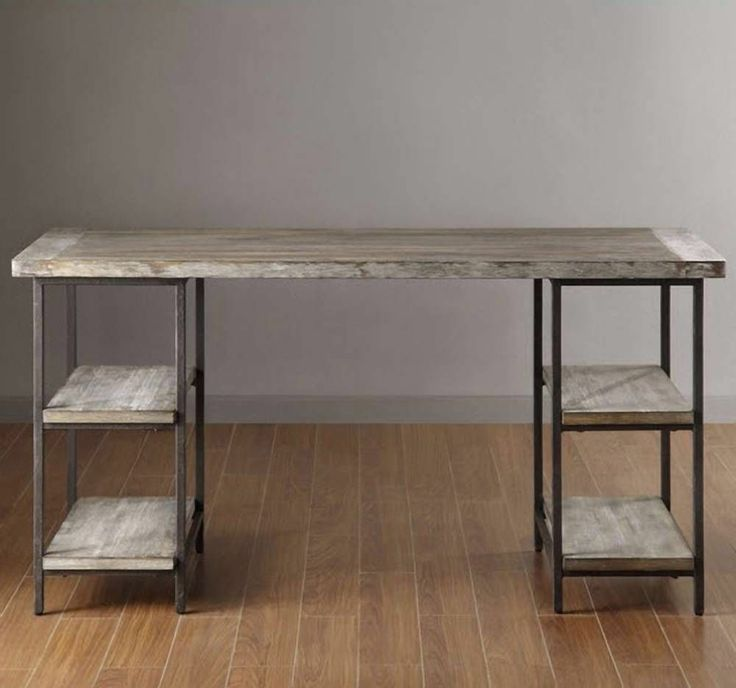 Reclaimed Design Solid Wood Desk W Metal Frame Office