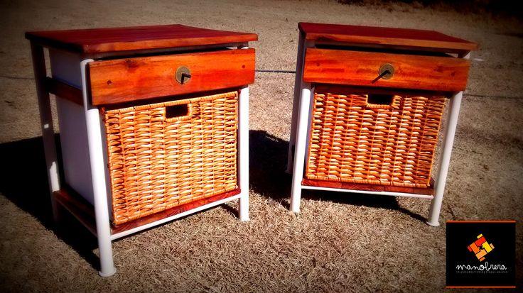 Reciclando unas antiguas mesas de noche de caño, y dándoles un carácter distinto con madera y mimbre... https://www.facebook.com/media/set/?set=a.681722291883079.1073741870.468564766532167&type=1