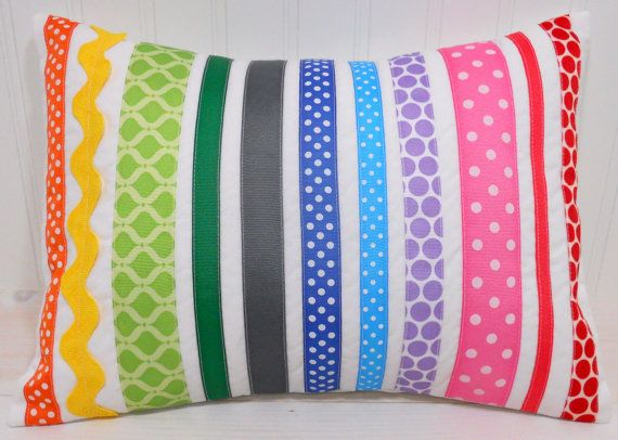 Rainbow Ribbon Pillow for the girl's room