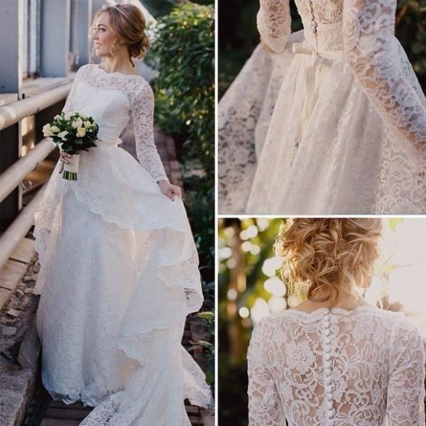 Long Sleeve High Neck Layered High Low Lace Gown With Illusion Back-BU_708780