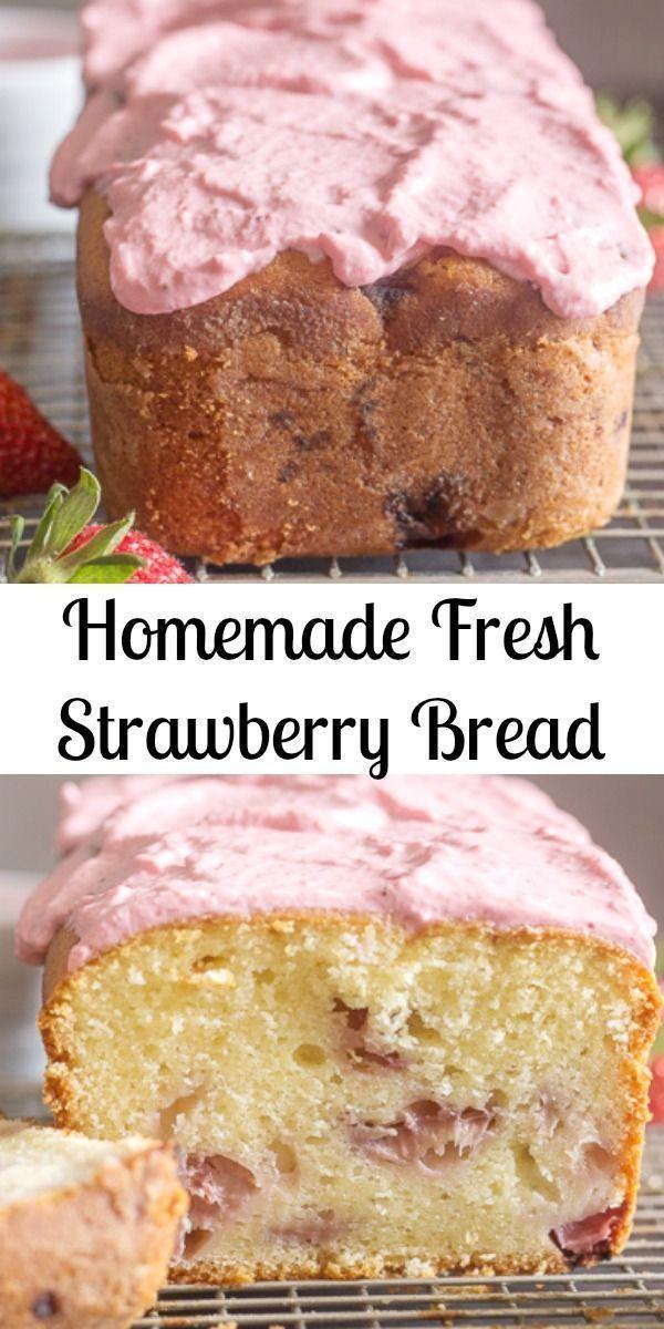 Strawberry Bread ein köstliches hausgemachtes süßes Brot mit frischen Erdbeeren …   – Erdbeere