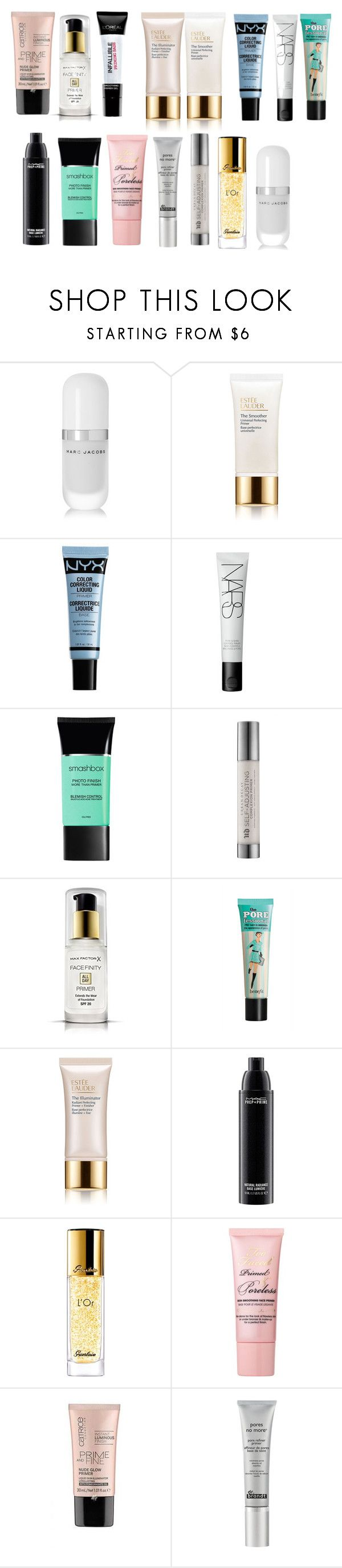 """primers"" by azra-99 on Polyvore featuring beauty, Marc Jacobs, Estée Lauder, NARS Cosmetics, Smashbox, Urban Decay, Max Factor, Benefit, L'Oréal Paris and MAC Cosmetics"