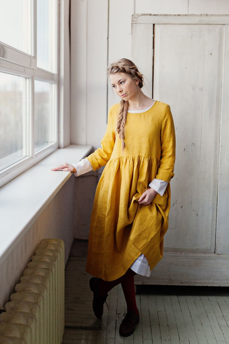 Mustard Linen Dress, Apron Dress, Midi Dress, Natural Linen Dress, Yellow Gown, Smock Dress, Yellow Bridesmaid Dress, Knee Length Dress by SondeflorShop on Etsy https://www.etsy.com/listing/476780622/mustard-linen-dress-apron-dress-midi