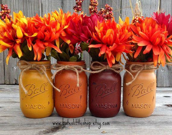 Set of 4 Pint Size Fall Mason Jars. Thanksgiving. Wedding Centerpiece. Rustic Home. Autumn Decor. Country Home Decor. Fall Jars. Pumpkin.