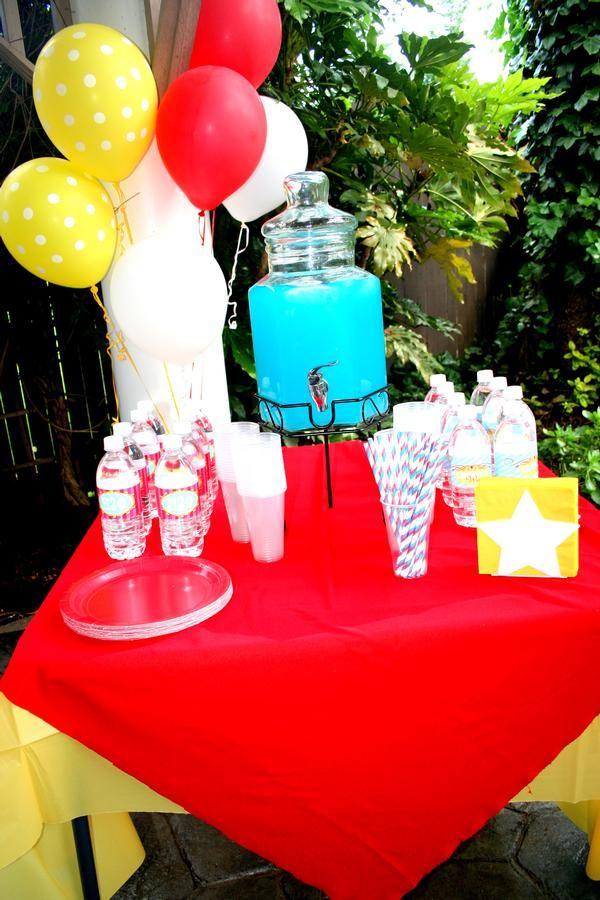 Water bottle labels, blue lemonade, paper straws.