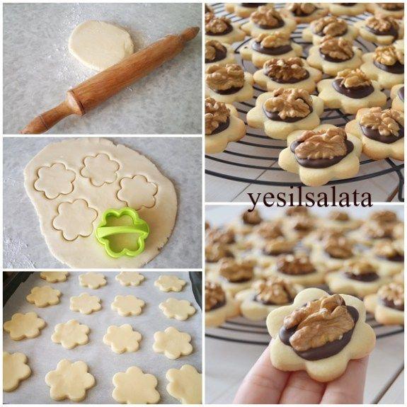 Pastanelerde bize göz kırpan, lezzetli kurabiyeleri evimizde yapariz 😉😄😄 Pastanelerde satılan bu nefis kurabiyeyi denemenizi şiddetle tavsiye ederim 👌 Kiyir Kiyir bir lezzet 😋😋 CEVİZLİ PASTANE KURA…