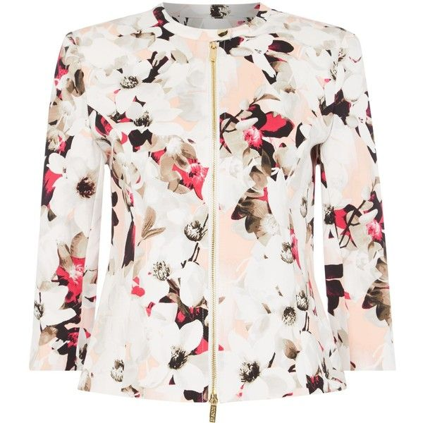 Episode Printed zip up floral bomber ($110) ❤ liked on Polyvore featuring outerwear, jackets, pink, women, white bomber jacket, pink bomber jacket, white flight jacket, white jacket and flight bomber jacket