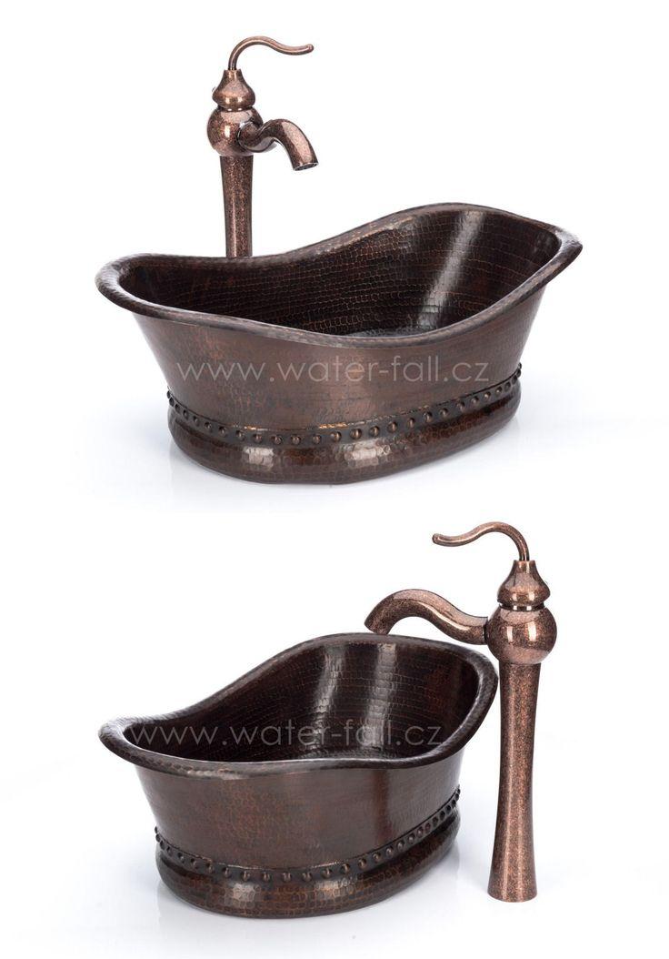 Měděné umyvadlo na desku ve tvaru vany s baterií Antique Marble