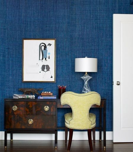 Textured Blue Wallpaper for the sitting room. Graffiti-free.