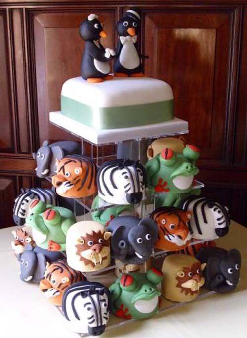 Very Personalized Zoo Animals Cake! Unique Wedding ...