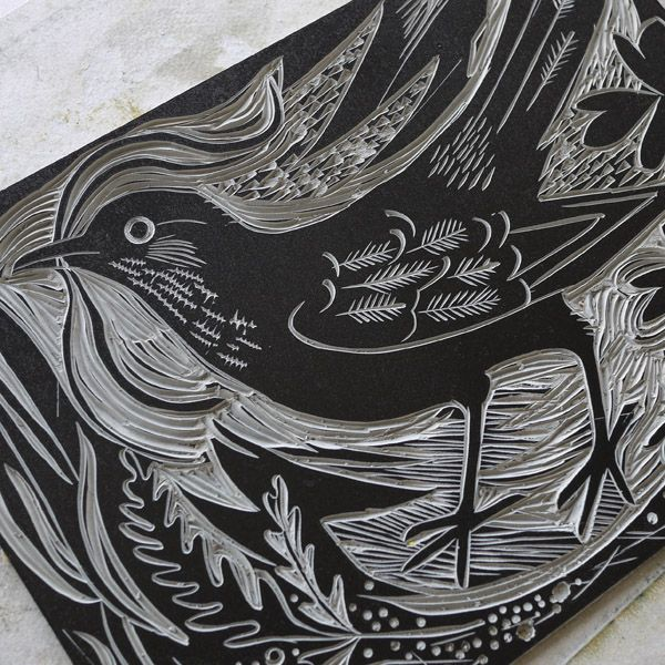 One of the cut blocks of Mark Hearld's 'Ballindalloch Blackbird' linocut print, a co-edition with St Jude's http://www.stjudesprints.co.uk