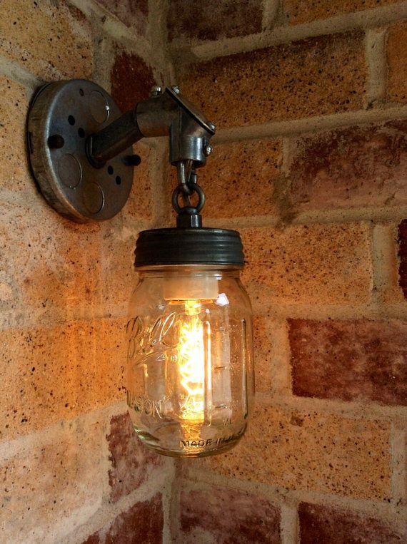 jar of light pint mason jar light rustic industrial wall sconce lantern with galvanized metal conduit and chain edison light
