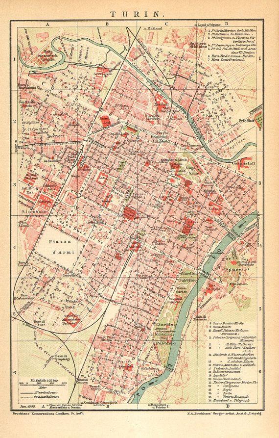 Mappa di città antica datato 1905 di Torino di CabinetOfTreasures