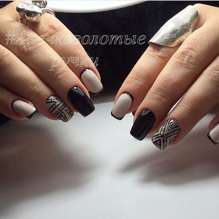 Autumn nails, Beautiful nails, Beige and black nail designs, Beige nails by gel polish, Black nails ideas, Fall nails 2016, Ideas of beige nails, Long nails