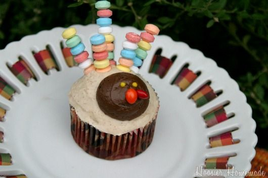 Turkey Cupcakes with candy feathers