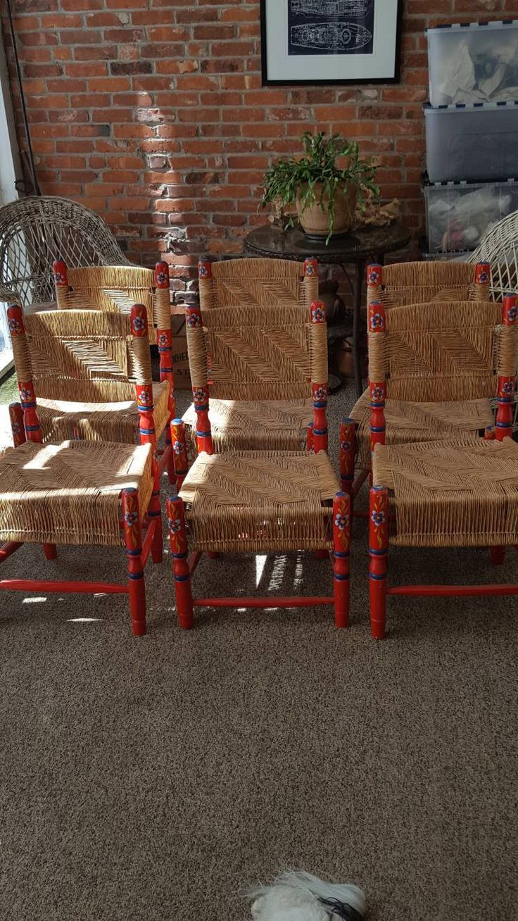 """Adult Hand Painted Folk Art Mexican Chairs.  """"Very Rare"""" Set of 6 (Pristine Condition) Local Pick-up by Pepegerber on Etsy https://www.etsy.com/listing/537717672/adult-hand-painted-folk-art-mexican"""
