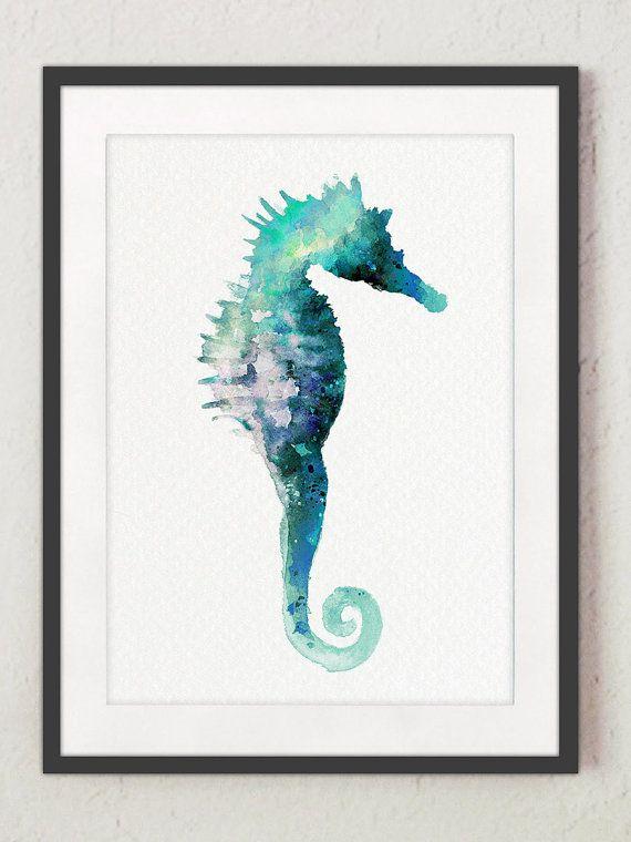 Aquarelle d'impression de cheval de mer, paysage marin turquoise Peinture nautique, décoration de maison d'hippocampe   – Sea watercolour