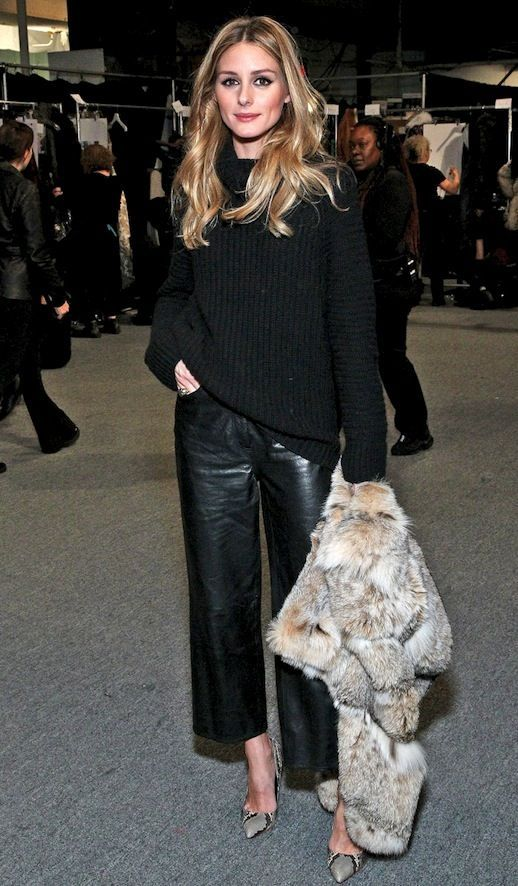 How Olivia Palermo Wears Leather Culottes