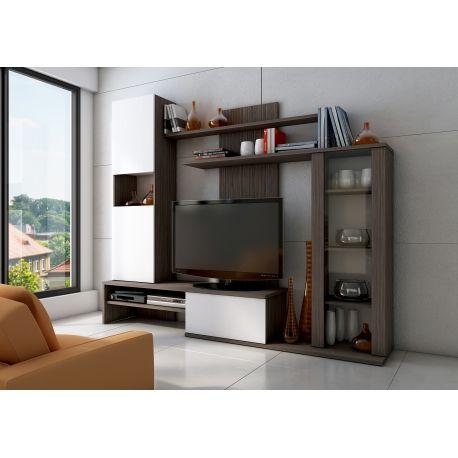 Compacto barn conjunto muebles de salon color y acabado blanco y pino avola estructurado - Conjunto muebles salon ...