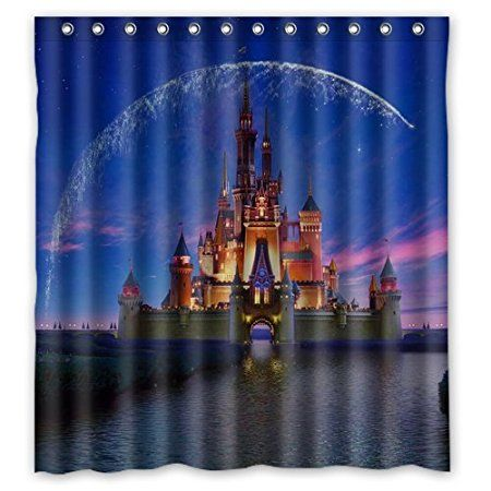 """Disney Castle Design Christmas Gift Design of Waterproof Bathroom Fabric Shower Curtain with 12hooks 66""""x72"""""""