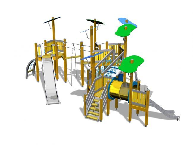 Het belangrijkste speeltoestel is het grote toestel waarin je kunt klimmen en twee glijbanen heeft. Het ontwerp is zo gemaakt dat de speeltoestellen voor kleine maar ook wat grotere kinderen is. De opmaak is zo gedaan dat het net lijkt of het tussen de bomen zit. Perfect voor in een park.
