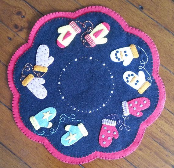 Mittens Penny Rug 16  Completed