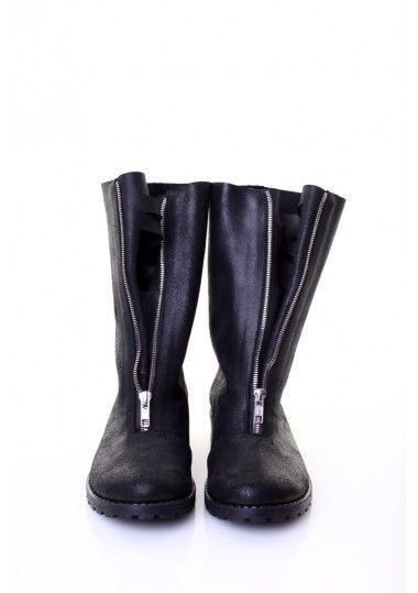 Leather Zipper Up Boots by Mihaela Glavan