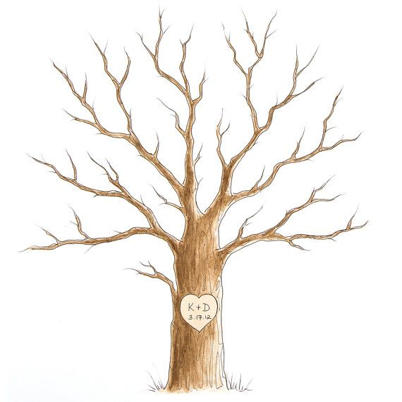 Wedding Guest Book SMALL Tree Thumbprint Tree 11 x 14 up to 60 guests via Etsy