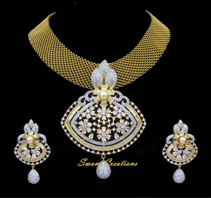 Indian Bridal CZ AD Gold & Silver Two Tone Bollywood Pendant Set Swam Jewelry171 #Unbranded