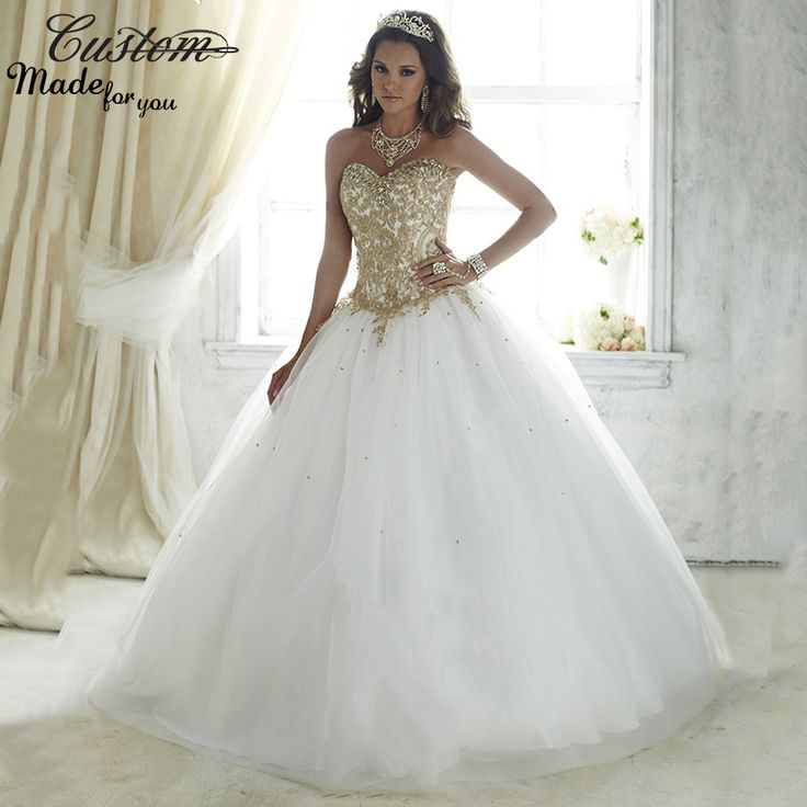 Desconto Vestidos De 15 Anos branco Debutante bola vestido vestido De renda para 15 Anos baratos Vestidos Quinceanera 2016 apliques De ouro em Vestidos de Debutante de Casamentos e Eventos no AliExpress.com | Alibaba Group