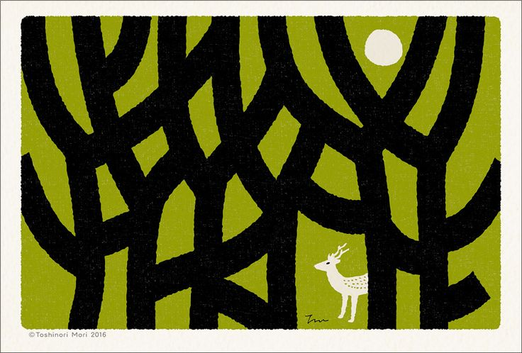 """It is a postcard of the """"Heart forest"""" series which """"Toshinori Mori"""" of the Japanese designer & illustrator draws.""""Heart forest"""" is a certain aerial forest in a heart."""