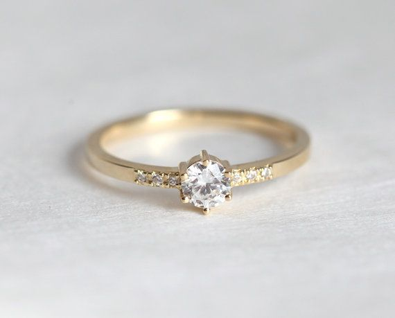 Gold Engagement Ring Prong Diamond ring Yellow Gold by MinimalVS