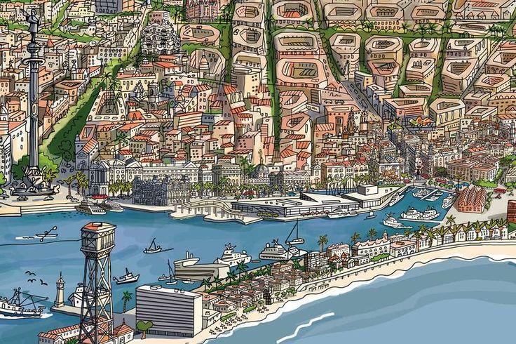 Barcelona vista desde el mar por Javier Mariscal 4