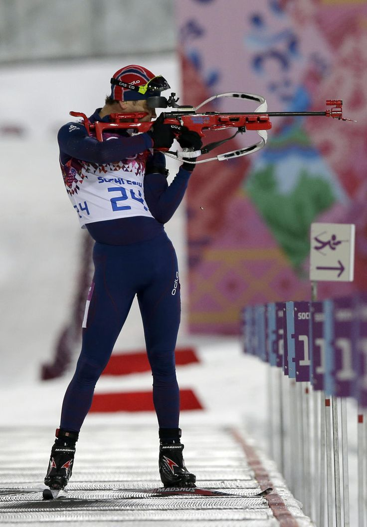 "Norway's Ole Einar Bjoerndalen shoots during the Men's Biathlon 10k sprint, in Sochi 2014. 40 years ""young""!"