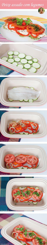 Peixe assado com legumes - mimis Ingredientes:  - 150g de filé de peixe (eu usei linguado)  - 3 rodelas de tomate  - 5 rodelas de pimentão  - 1/2 cebola em rodelas  - 1 abobrinha pequena cortada em rodelas  - Salsa e coentro à gosto  - Sal, pimenta à gosto  - 1/2 limão