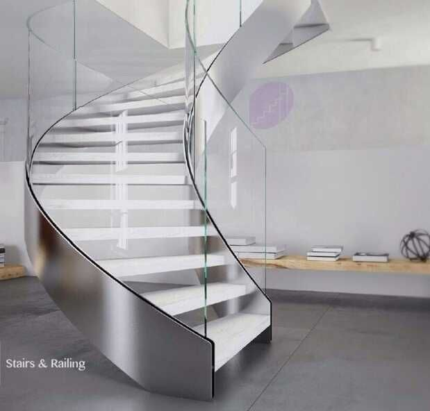 Best Indoor Decorating Glass Railing Curved Wood Stair Elegant 640 x 480