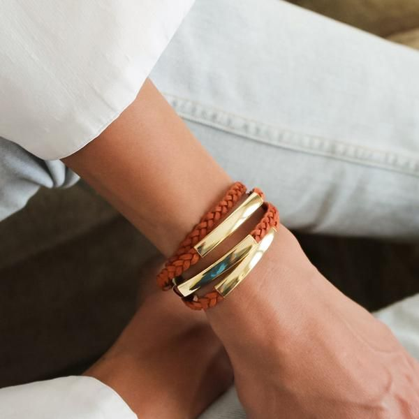 The Mini Addison Braided Wrap in Goldplate featuresa braided double leather strand with wide goldplate crescents.Designed to be worn as a bracelet only, handm
