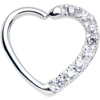16 Gauge Clear CZ Heart Left Closure Daith Cartilage Tragus Earring | Body Candy Body Jewelry #bodycandy
