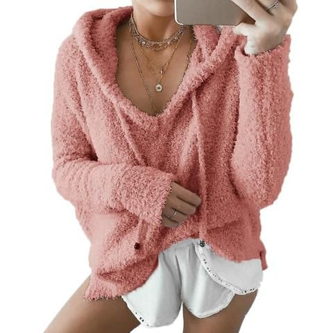3XL soft knitted sweater pullovers hooded 2018 Autumn Women drawstring cropped tops sweater coat Winter fashion femme jumper 7