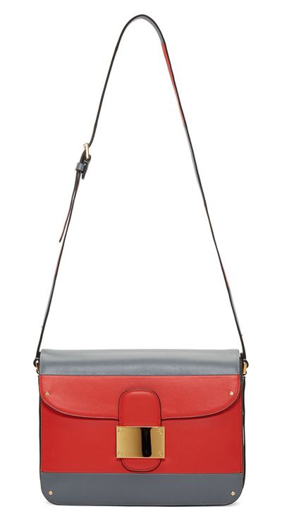 Red & Grey Colorblocked Shoulder Bag by Valentino. Colorblocked buffed leather shoulder bag in grey, vermilion red, and taupe. Gold-tone hardware. Rivet accents throughout. Adjustable shoulder strap. Foldover flap at main compartment with feed-through tab closure. Gold logo stamp at back face. Zip pocket at three-compartment interior http://www.zocko.com/z/JJxsn
