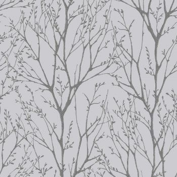 Shimmmer Tree Soft Grey and Silver Wallpaper-For the upstairs throughout