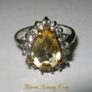 Cincin Wanita Silver 925 Batu Permata Citrine Pear Shape Ring 6US