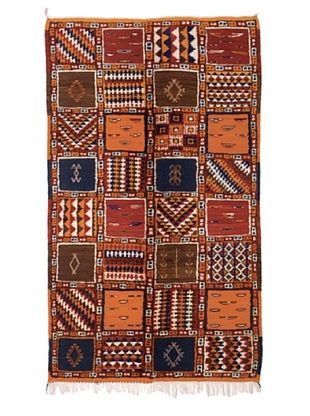 Hotel Marrakeche One of a Kind Hand Knotted Moroccan Rug, Red/Blue/Orange, 3' 9
