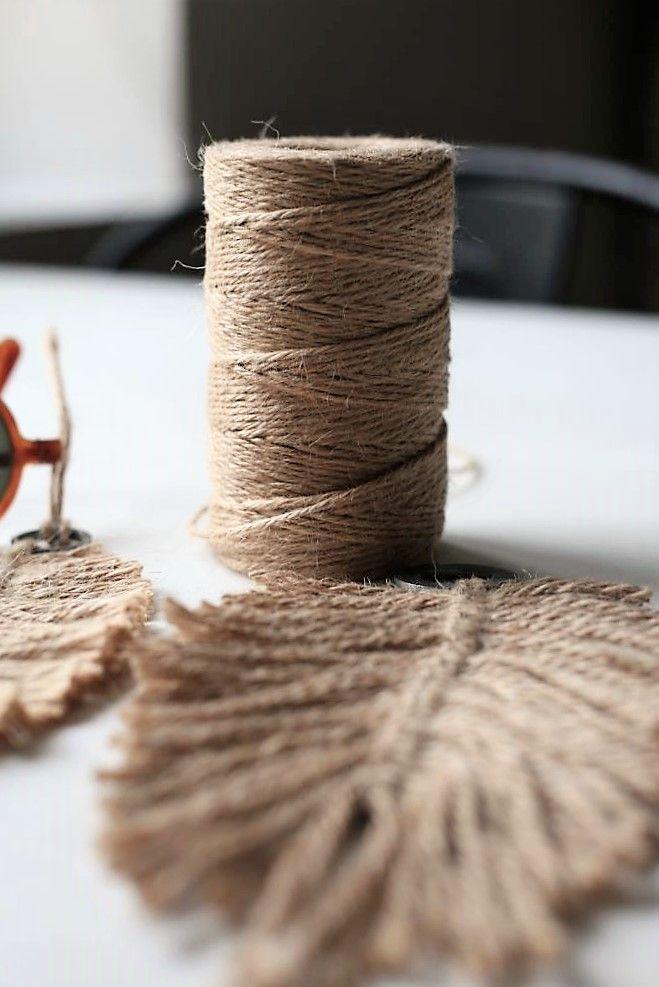 Diy Macrame Feather Made From Jute Yarn Feather Earrings Diy