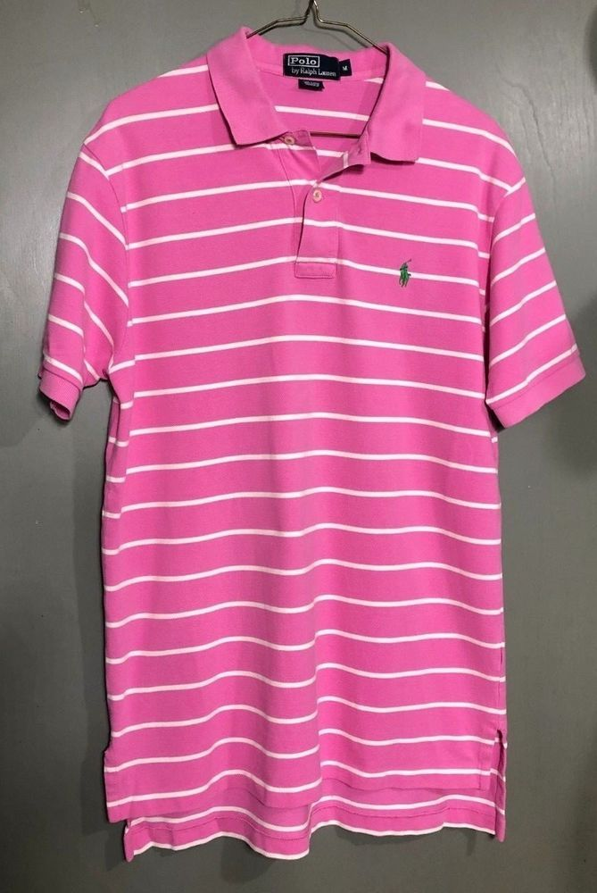 Mens Ralph Lauren Pink And Blue Striped Polo Shirt Size L 100% Cotton Polos