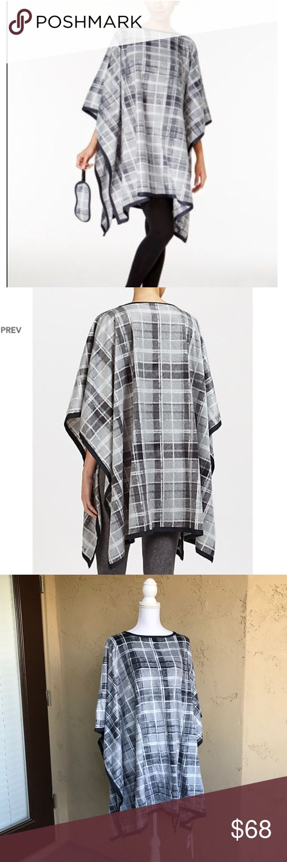 NWT DKNY Grey Poncho Plaid Eye Mask Gift Set Perfect for traveling or to indulge in restful sleep, this cosy set is crafted from soft plush fleece for a luxuriously warm feel. Printed with a classic check design, the poncho slips over the body with a round neckline, asymmetric hem and deep side slits for effortless layering and comfortable wear. Paired with a coordinating eye mask that pulls over the head with the snug elasticated band, drift off into a peaceful slumber and envelop yourself…