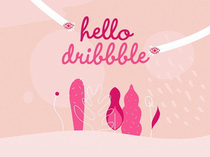 Hello Dribbble! // www.gloriaciceri.com // Gloria Ciceri // #dribbble #hello #plants #plant #nature #hands #eye #eyes #pink #girl #girly #colors #illustration #illustrator #berlin #leaves #colours
