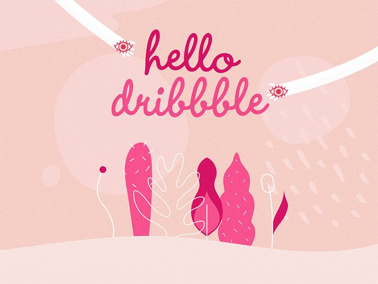 Hello Dribbble! // www.gloriaciceri.com // Gloria Ciceri // #dribbble #hello #plants #plant #nature #hands #eye #eyes #pink #girl #girly #colors #illustration #illustrator #berlin #leaves #colours