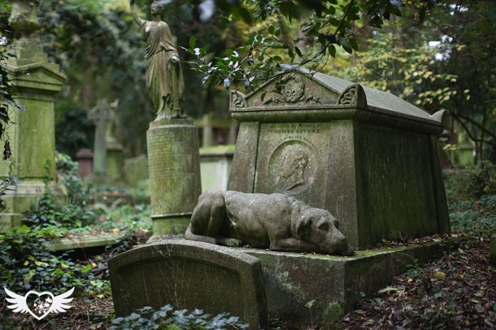 Lion, the dog, guarding the tomb of Tom Sayers, the bare-knuckle prize fighter