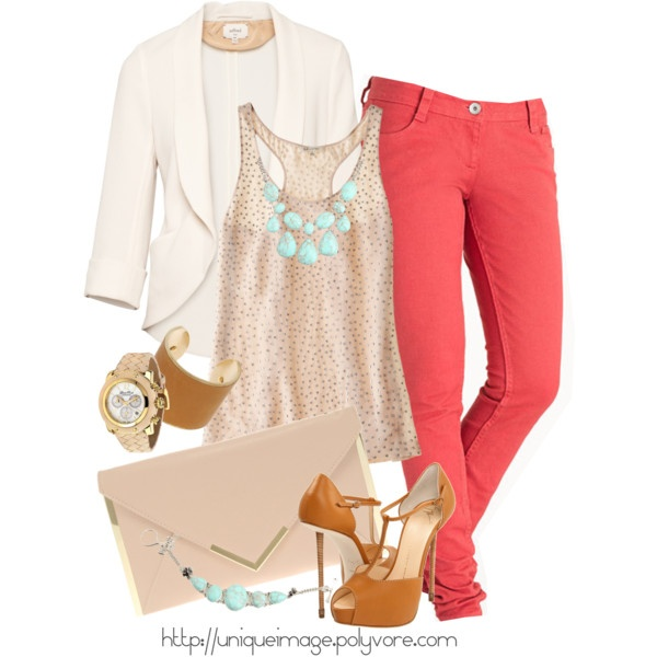 Coral Skinny Jeans: Shoes, Outfits, Colors Combos, Coral Jeans, Coral Pants, Skinny Jeans, Colors Jeans, Pink Pants, Blazers